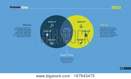 Two circles Venn diagram slide template. Business data. Graph, chart, design. Creative concept for infographic, presentation, report. Can be used for topics like analysis, planning, management.