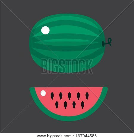 Ripe striped watermelon juicy healthy vector illustration. Slice green isolated ripe melon. Vegetarian diet freshness dessert. Water refreshment delicious fruit.