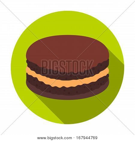 Chocolate biscuit icon in flat design isolated on white background. Chocolate desserts symbol stock vector illustration.