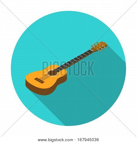 Acoustic guitar icon in flat design isolated on white background. Musical instruments symbol stock vector illustration.