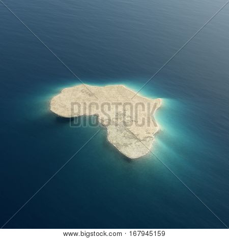 Africa illustrated as an island surrrounded by tropical blue ocean water. Conceptual 3D rendered background image for use in designs