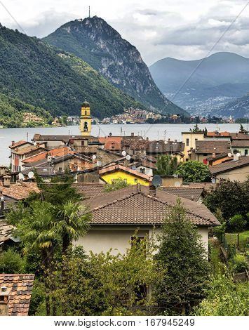 The Ceresio Lake (Ticino Switzerland)) landscape at summer. View of Morcote from Brusino Arsizio