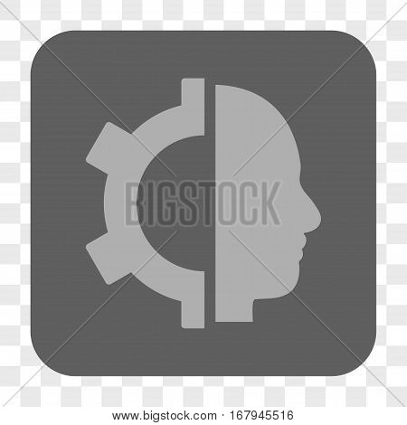 Cyborg Gear interface toolbar button. Vector icon style is a flat symbol on a rounded square button, light gray and gray colors, chess transparent background.