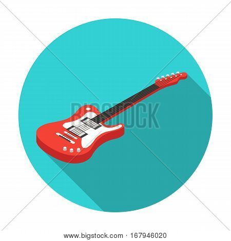 Electric guitar icon in flat design isolated on white background. Musical instruments symbol stock vector illustration.