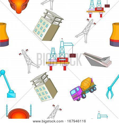 Construction plant pattern. Cartoon illustration of construction plant vector pattern for web