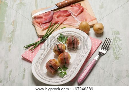 rolled up with potatoes and speck