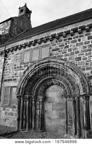 A view of the architectural detail of the old church in Kirkliston