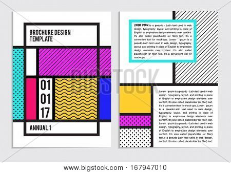 BUSINESS BROCHURE FLAYER DEISGN LAYOUT TEMPLATE. Creative Trend with Patterns and Neon colors. Editable vector file.