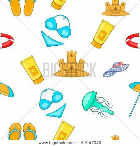 Relax on beach pattern. Cartoon illustration of relax on beach vector pattern for web