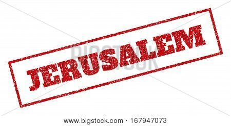 Red rubber seal stamp with Jerusalem text. Vector caption inside rectangular banner. Grunge design and dirty texture for watermark labels. Inclined emblem.
