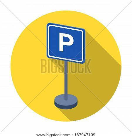 Parking sign icon in flat design isolated on white background. Parking zone symbol stock vector illustration.