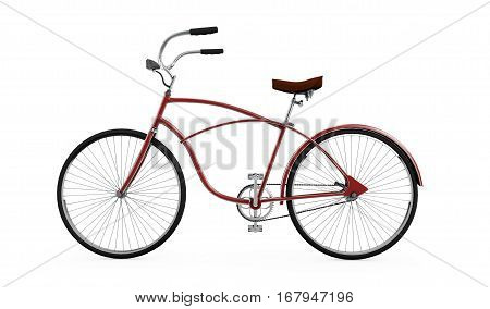 Red bicycle Bike theme elements Street speed sport bicycle Bike isolated on white background Sport track bike concept - 3d Rendering