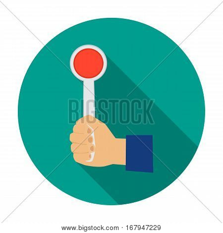 Hand holding stop sign icon in flat design isolated on white background. Parking zone symbol stock vector illustration.