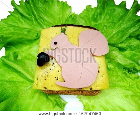creative sandwich with cheese and salame squirrel shape