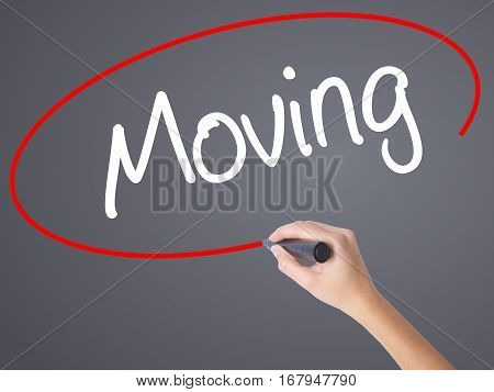 Woman Hand Writing Moving With Black Marker On Visual Screen