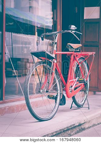 Red Bicycle Standing On Street