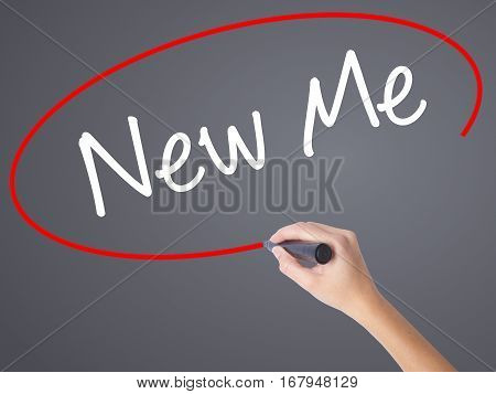 Woman Hand Writing New Me With Black Marker On Visual Screen