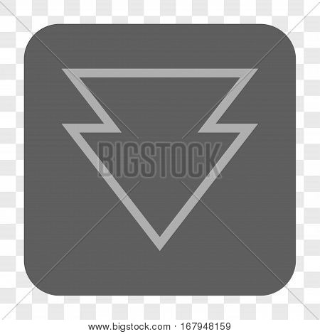 Direction Down interface toolbar button. Vector icon style is a flat symbol on a rounded square button, light gray and gray colors, chess transparent background.