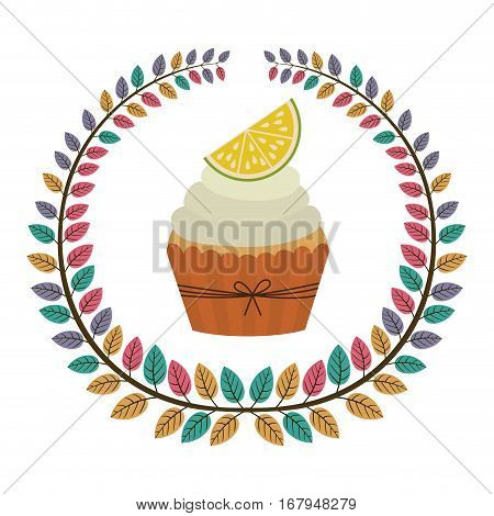 crown of leaves with cupcake with cream and lemon vector illustration