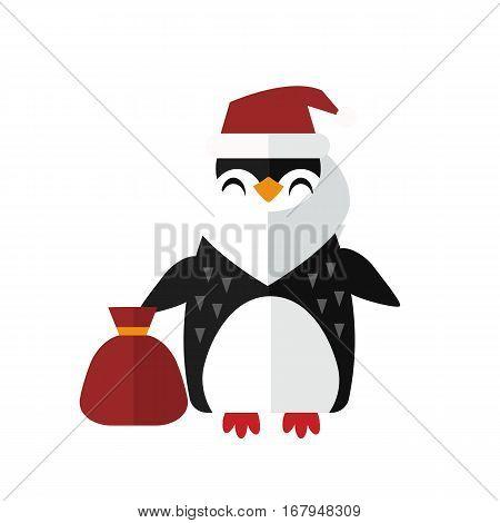 Penguin santa vector illustration character. Cartoon funny cute animal with headphones isolated. Antarctica polar beak pole winter bird. Funny outdoors wild life south arctic.