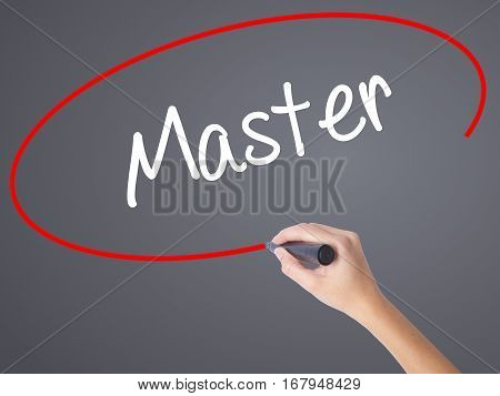 Woman Hand Writing Master With Black Marker On Visual Screen