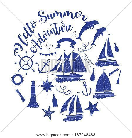 Nautical  sea composition with ships and wheel.  Hand drawn elements for summer holidays. Travel, marin and ocean. Vector Illustration