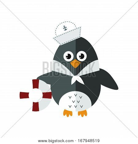 Penguin sailor vector illustration character. Cartoon funny cute animal with headphones isolated. Antarctica polar beak pole winter bird. Funny outdoors wild life south arctic.