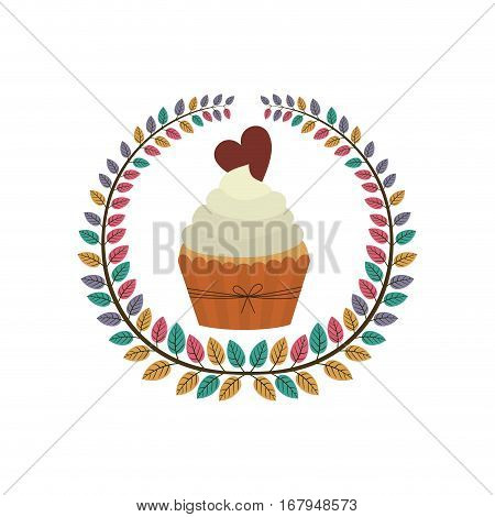 crown of leaves with cupcake with cream and chocolate cookie vector illustration