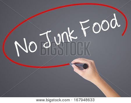 Woman Hand Writing No Junk Food With Black Marker On Visual Screen