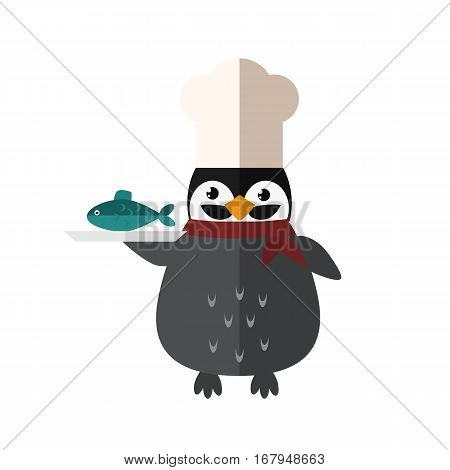 Penguin chef vector illustration character. Cartoon funny cute animal with headphones isolated. Antarctica polar beak pole winter bird. Funny outdoors wild life south arctic.