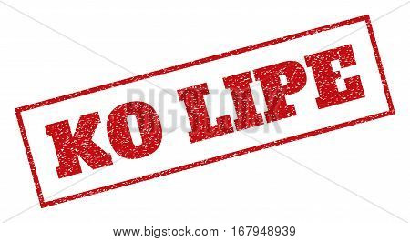 Red rubber seal stamp with Ko Lipe text. Vector message inside rectangular banner. Grunge design and scratched texture for watermark labels. Inclined sign.
