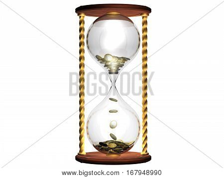 Time is money concept,sandglass filled with Euro coins.3d illustration.