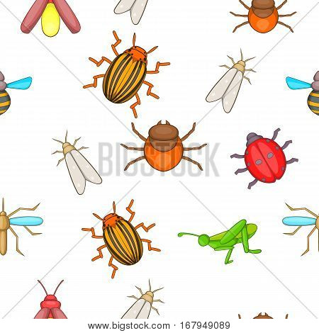 Insects pattern. Cartoon illustration of insects vector pattern for web