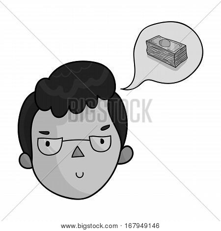 Businessman dreaming about money icon in monochrome design isolated on white background. Conference and negetiations symbol stock vector illustration.