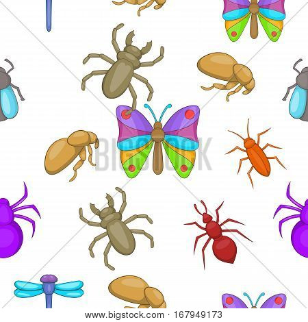 Types of insects pattern. Cartoon illustration of types of insects vector pattern for web