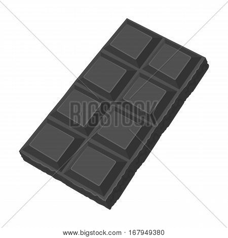 Chocolate icon in monochrome design isolated on white background. Chocolate desserts symbol stock vector illustration.