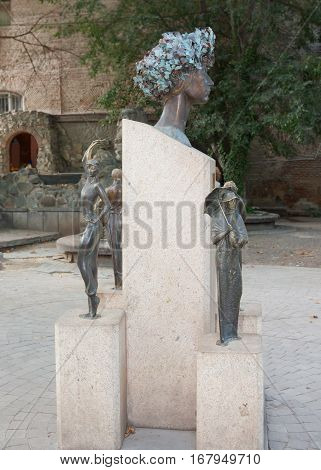 GEORGIA, TBILISI - AUGUST 7, 2013: A monument to famous Soviet and Georgian actress Sofiko Chiaureli in the center of Tbilisi