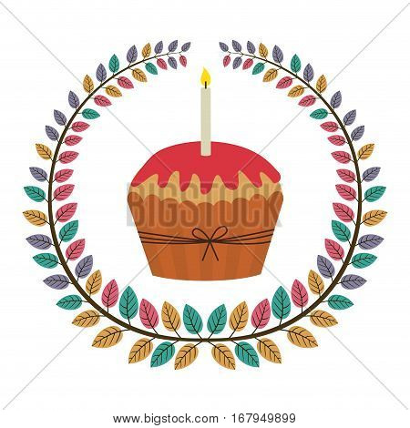 crown of leaves with cupcake with red cream and candle vector illustration