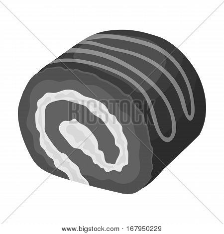 Chocolate roulade icon in monochrome design isolated on white background. Chocolate desserts symbol stock vector illustration.