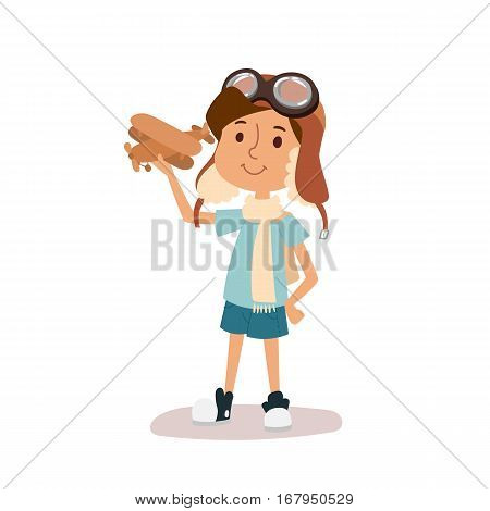 Small cartoon vector kid playing pilot aviation. Childhood games dreaming concept. Cartoon boy like plane toy icon. Active lifestyle happiness character.