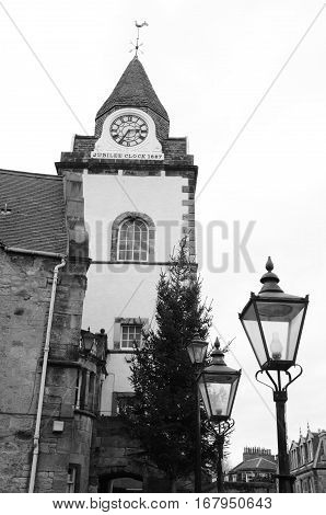 A view of a clock tower building in South Queensferry