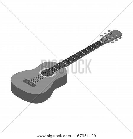 Acoustic guitar icon in monochrome design isolated on white background. Musical instruments symbol stock vector illustration.