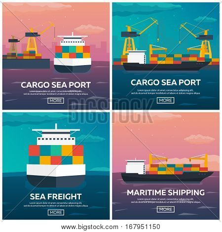 Set Of Sea Transportation Logistic. Sea Freight. Maritime Shipping. Merchant Marine. Cargo Ship. Vec