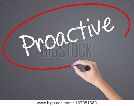 Woman Hand Writing Proactive With Black Marker On Visual Screen.