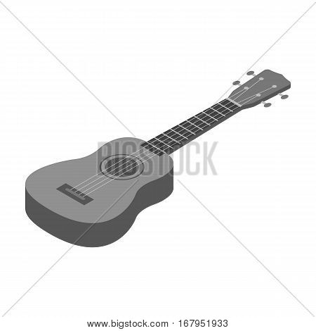 Acoustic bass guitar icon in monochrome design isolated on white background. Musical instruments symbol stock vector illustration.