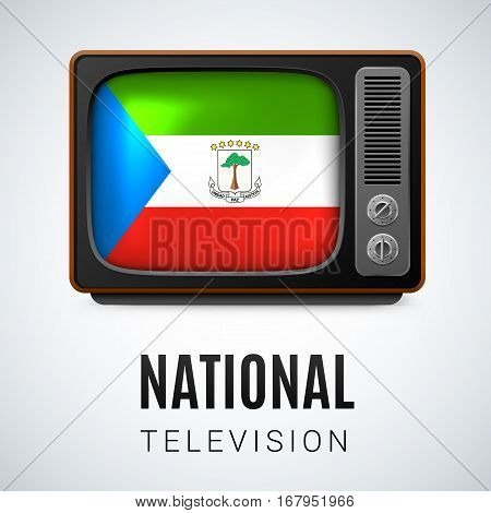 Vintage TV and Flag of Equatorial Guinea as Symbol National Television. Button with flag design