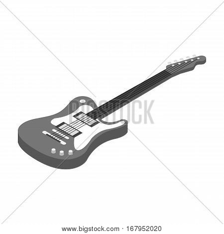 Electric guitar icon in monochrome design isolated on white background. Musical instruments symbol stock vector illustration.
