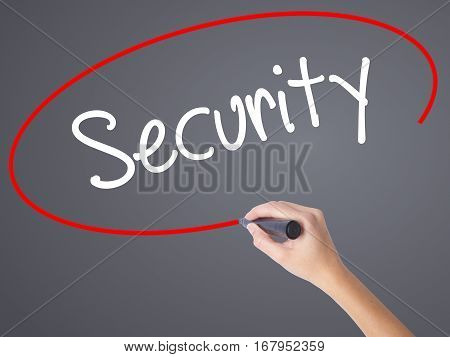 Woman Hand Writing Security With Black Marker On Visual Screen