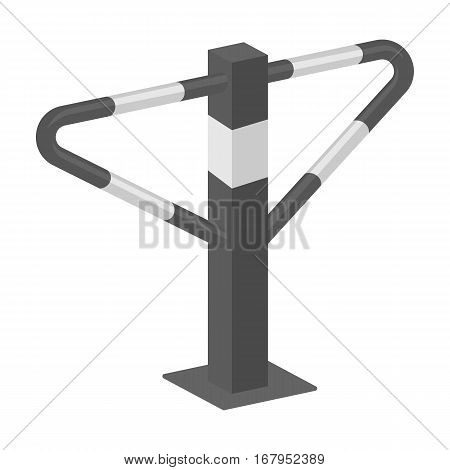 Parking construction barricade icon in monochrome design isolated on white background. Parking zone symbol stock vector illustration.