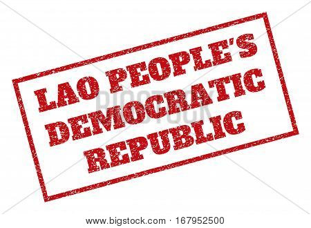 Red rubber seal stamp with Lao People'S Democratic Republic text. Vector tag inside rectangular frame. Grunge design and unclean texture for watermark labels. Inclined sticker.